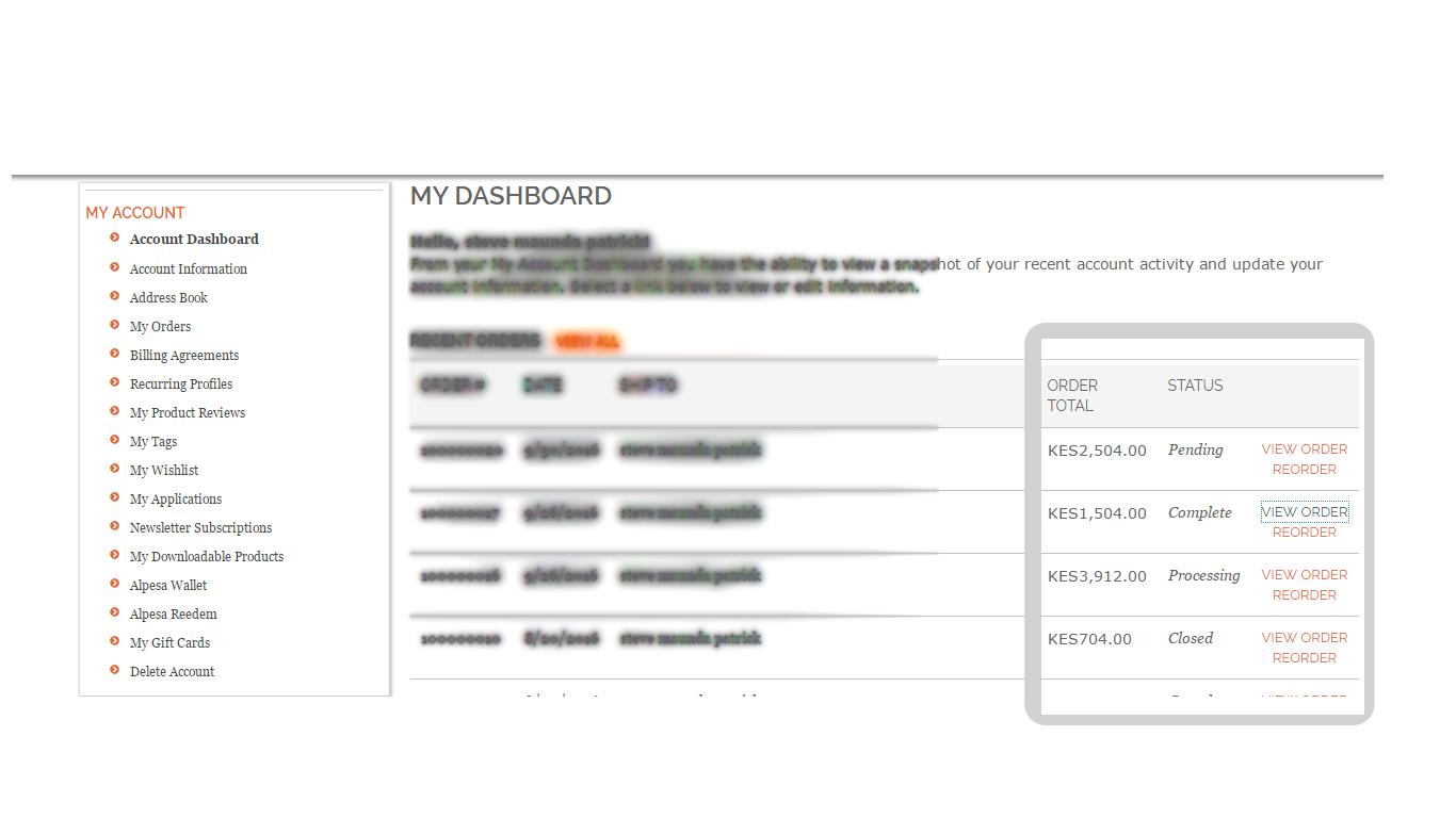 alladin user account dashboard