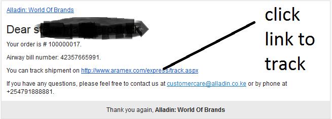 alladin tracking my order